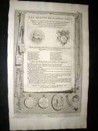 Picart C1730 Folio Antique Print. Religious Catholic Medals, Costume